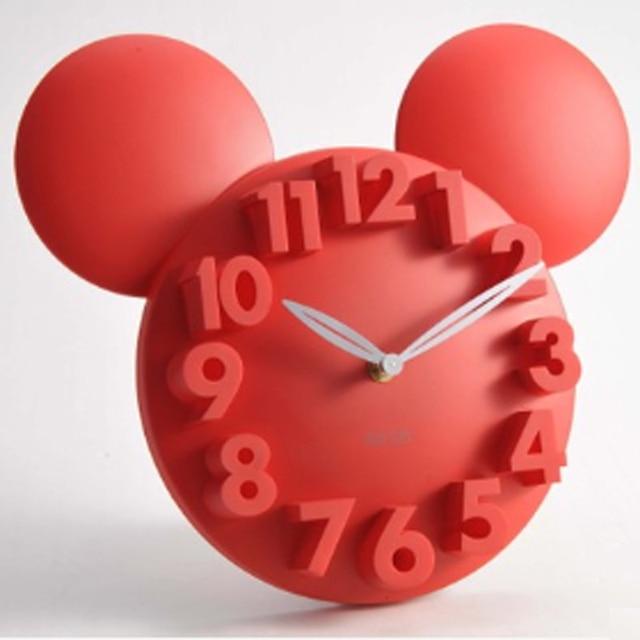 digital clock  Mickey Mouse 3D Wall Clock Acrylic Digital Wall Clock Large Wall Clock Kitchen Watch Horloge mural For Children