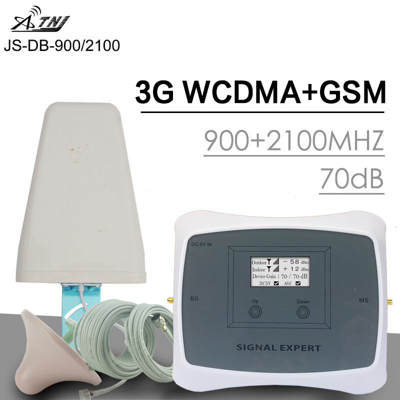 ATNJ Big Power 70dB Gain 2G 3G GSM WCDMA Mobile Signal Booster 900 2100 MHz Dual Band Cellular Signal Repeater 3G Amplifier Set