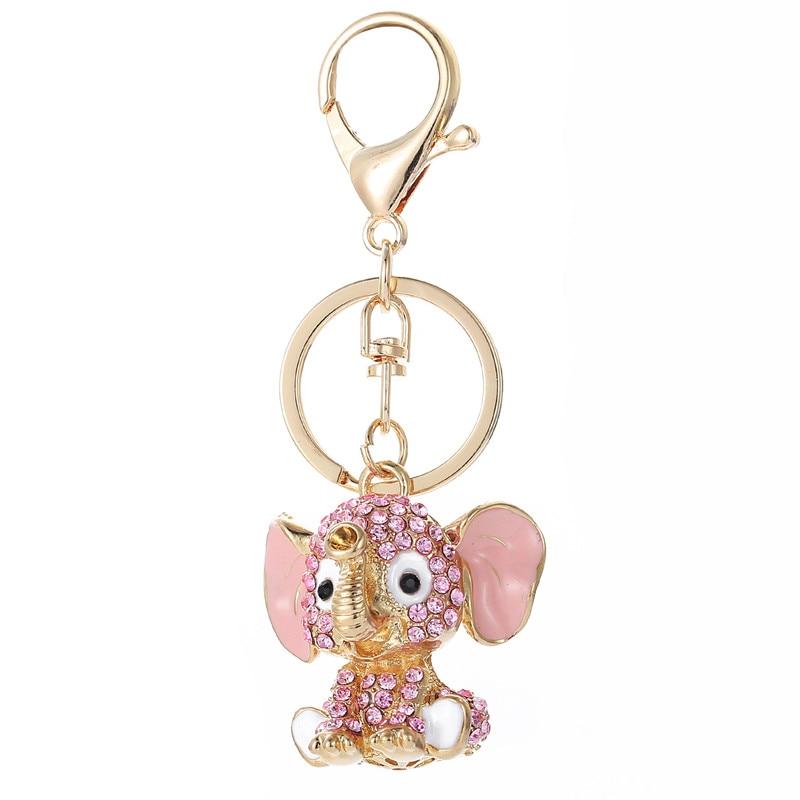 Pink Elephant Llaveros Crystal Key Ring Monedero Bolsa Rhinestone CZ Llavero encanto Colgante