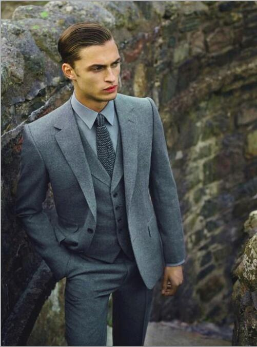 2017 Latest Coat Pant Designs Grey Tweed Prom Men Suit Slim Fit 3 Piece Tuxedo Custom Groom Suits Gentle Blazer Terno Masculino