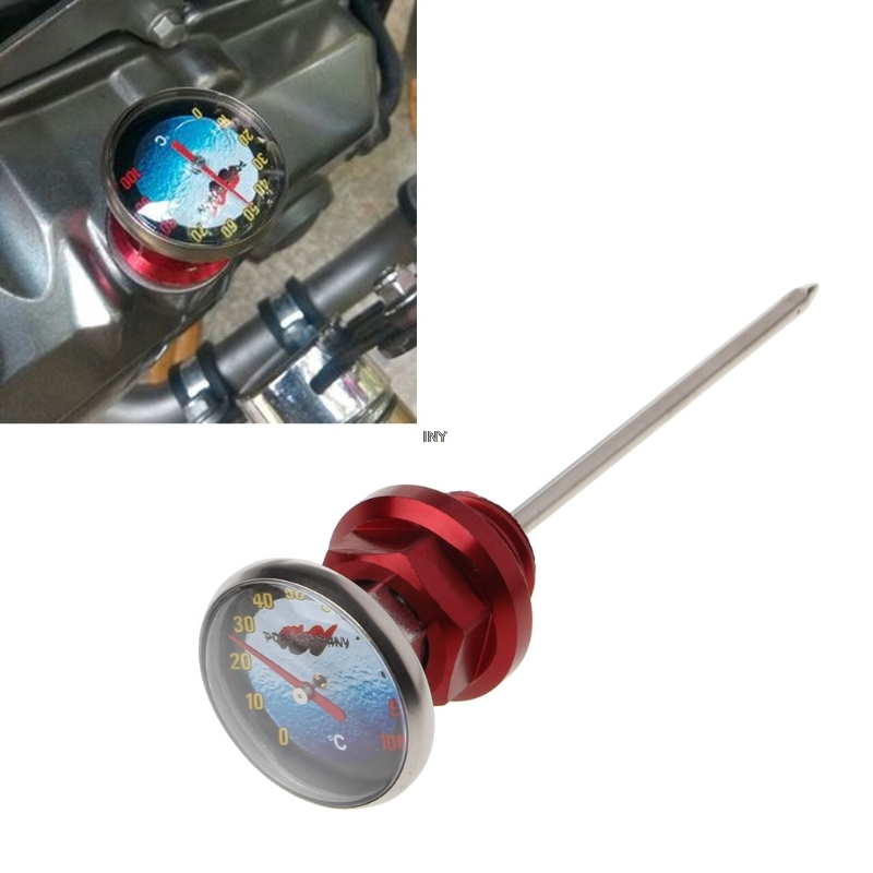 qiuxiaoaa Motorcycle Dirt Pit Bike Parts Oil Cap Tank Temperature Gauge For 110cc 125cc Motorcycle dipstick red