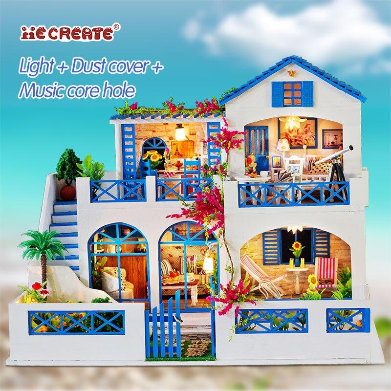فتاة الأثاث DIY مصغرة بيت الدمية 3D دمى خشبية منازل لغز لعب للأطفال مصغرة دمية الأثاث عدة-في منازل الدمى من الألعاب والهوايات على  مجموعة 1