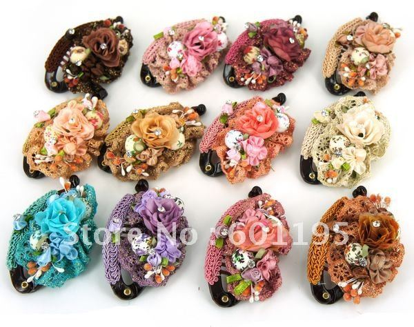 free shipping fashion flower hair clip,mixed 12 color