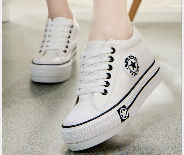 Женщина Туфли На Платформе 2016 Дышащий Холст Обувь Женщины Высота Увеличение Повседневная Обувь Белый Zapatos Mujer