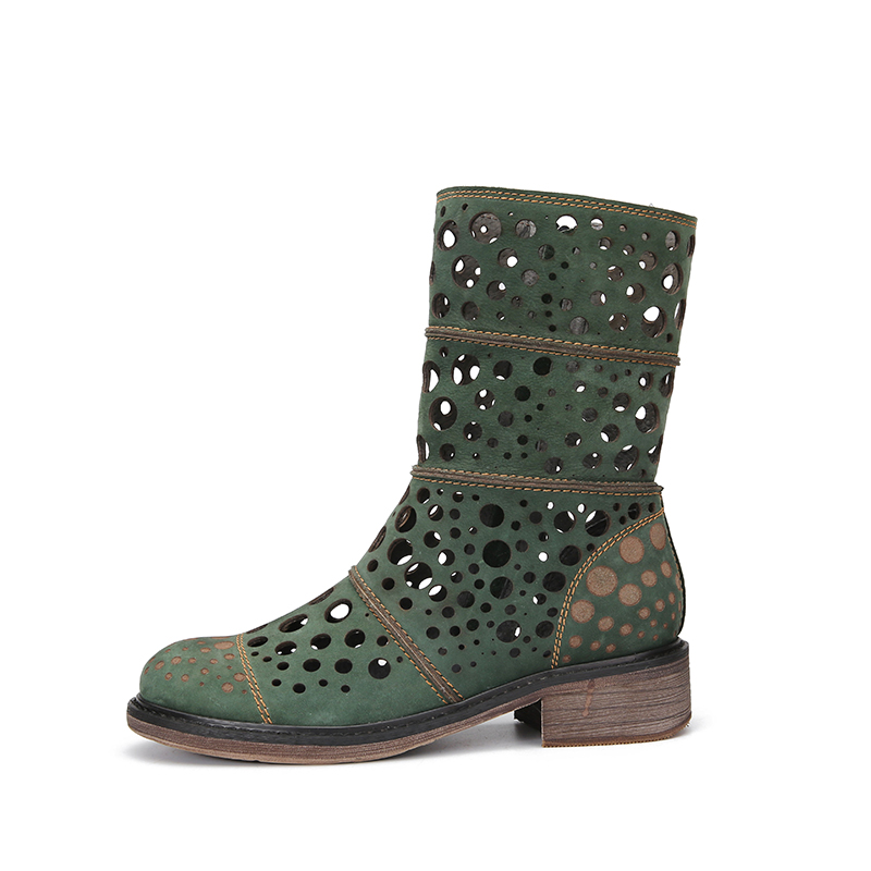 Pour Chaussons Bottes Confortable Talon Frais Bloc Lady Femelle Cut Vert Out Mi Nouveauté Fretwork Mode 2018 mollet Chaussures Femmes qESwxppta