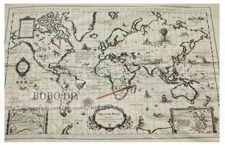 world map vintage cotton linen fabric make bag pillow curtain 145cm64cmfree