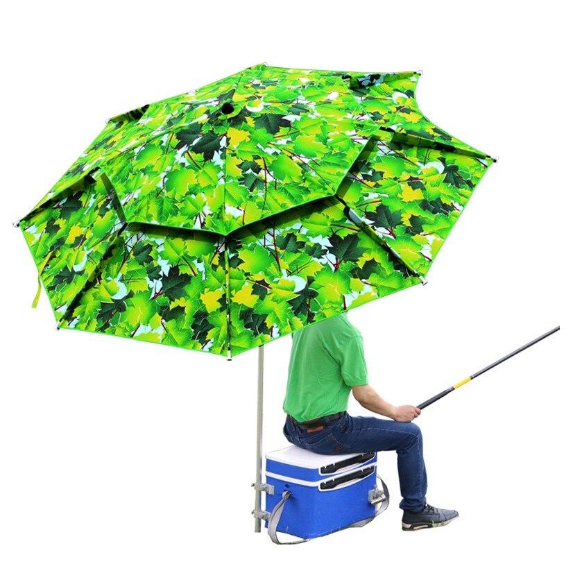 Feuilles pêche parapluie 2.0 m 2.2 m 2.4 m Portable pliant Fisher extérieur étanche à la pluie Anti-uv protection solaire bâche plage auvent