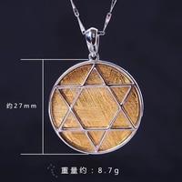 Genuine Natural Gibeon Meteorite Moldavite Women Men Necklace 27x27mm Gold Plated Round Hexagonal Star Gemstone Pendant AAAAA