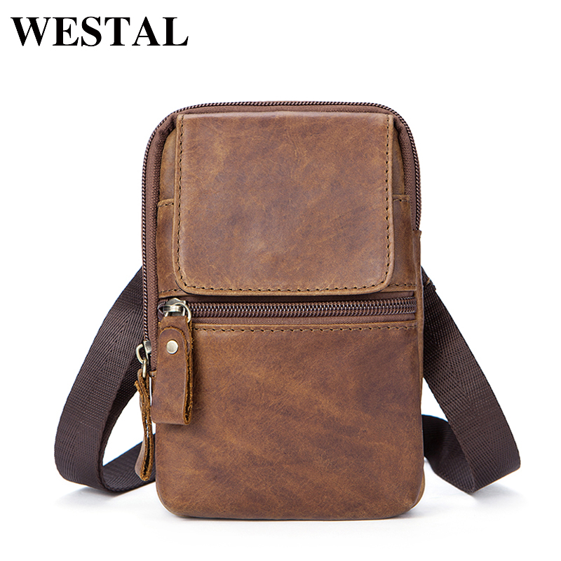 WESTAL Waist Packs For Men Zipper Mens Genuine Leather Hip Bag Waist Packs Brand  Bags Pack Male Small Waists Bags Leather 1024