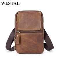 WESTAL Waist Packs For Men Zipper Men S Genuine Leather Hip Bag Waist Packs Brand Bags