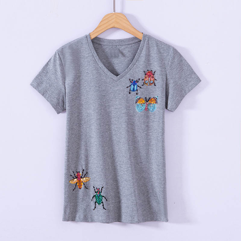 Sexy V-Neck Women Tshirt Knitted Tops Luxury Beading Diamonds Insects Girl Slim T-Shirts Short Sleeve Pullovers Summer 4XL Size