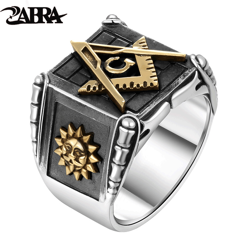 ZABRA Vintage 925 Sterling Silver Masonic Rings For Men Gold Sun Moon Making Punk Handmade High Polished Silver Jewelry For Male