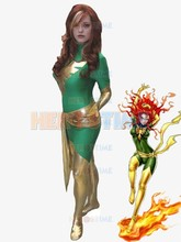 Hot sale Green X-men Superhero Costume Dark Phoenix cosplay party halloween Spandex female X-Men show costume free shipping 3d printting female x men dark phoenix superhero costume new jean grey cosplay costume tight catsuit bodysuit