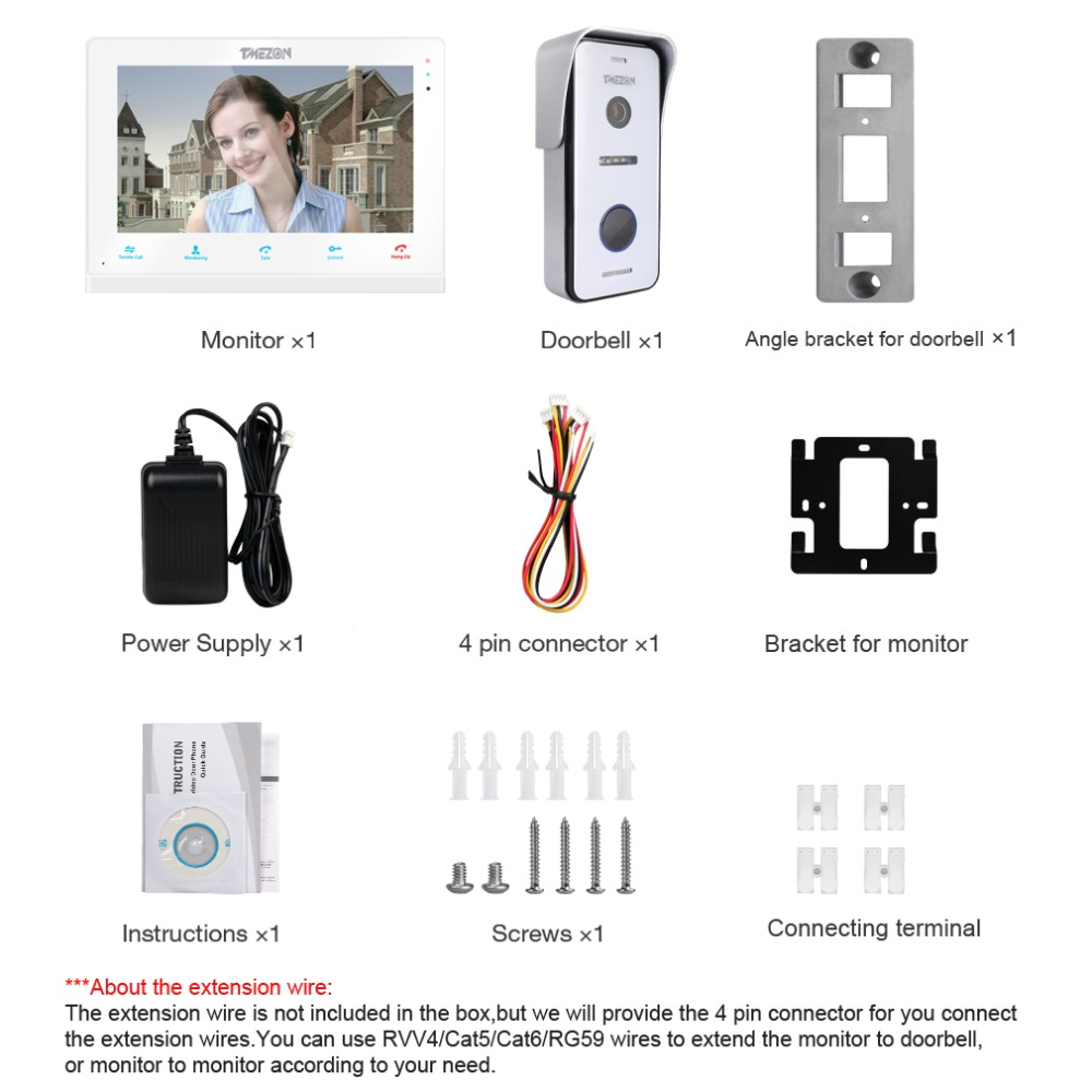 Tmezon 10 Inch Wireless Wifi Smart Ip Video Doorbell Intercom System Correct Wiring For Package Included