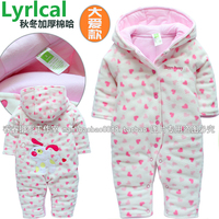 Free Shipping 2013 New Style Baby Girl S Cotton Padded Romper For Winter Female Children Fleece