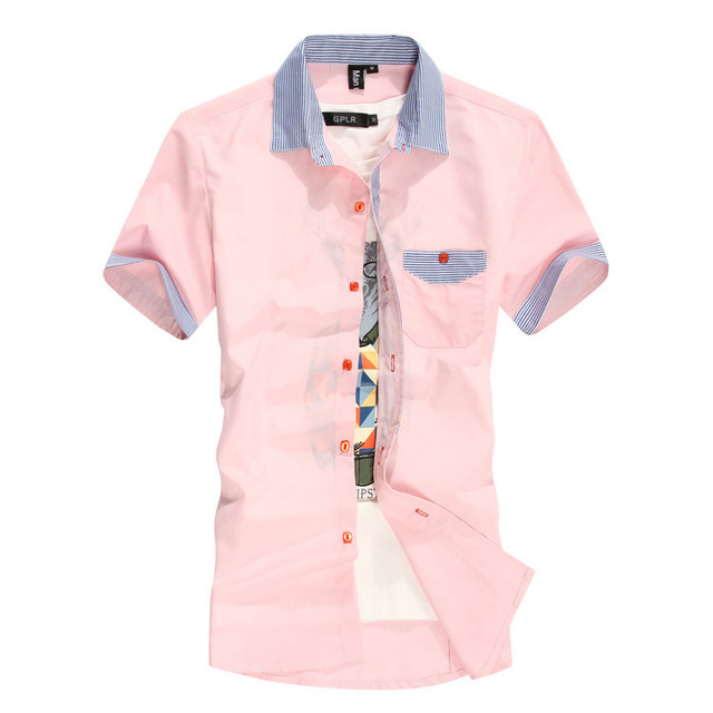 Mens Pink Short Sleeve Dress Shirt - Greek T Shirts