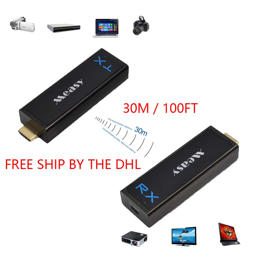 Measy W2H Nano Wireless HD Sender Kit with Receiver and Transmitter 30M/100FT Compatible with 1080P 3D Free ship By DHL EMS lem htr200 sb sp1 used in good condition with free dhl ems