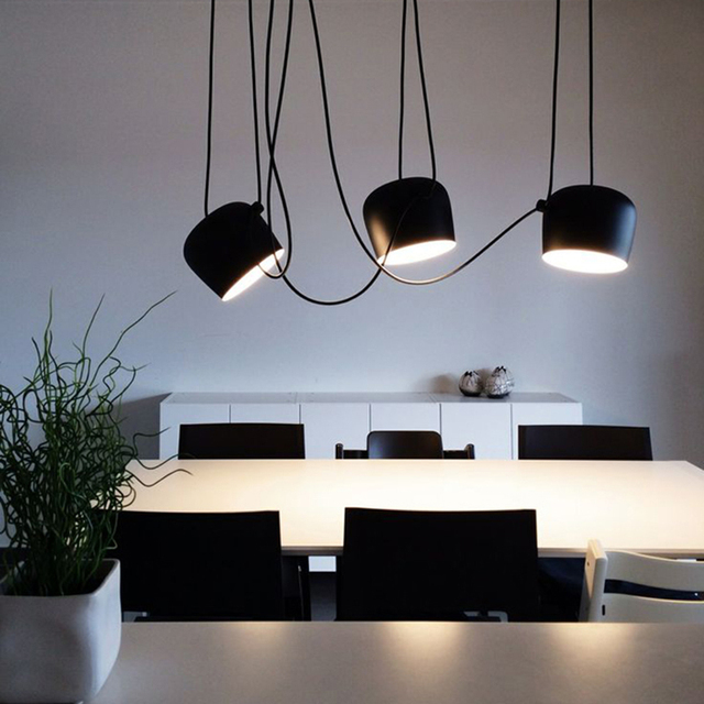 Modern Designer Drum Pendant Light Simple Diy Spider Black Hanglamp Aluminum Lampshade Droplight Indoor Home Lighting