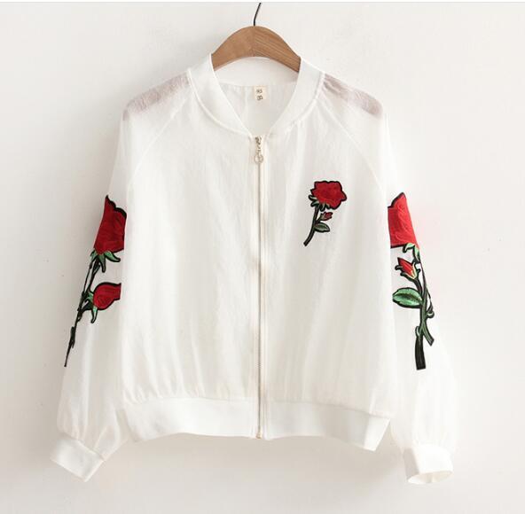 Collar del soporte del bordado rosas clothing top de la camisa protección del so