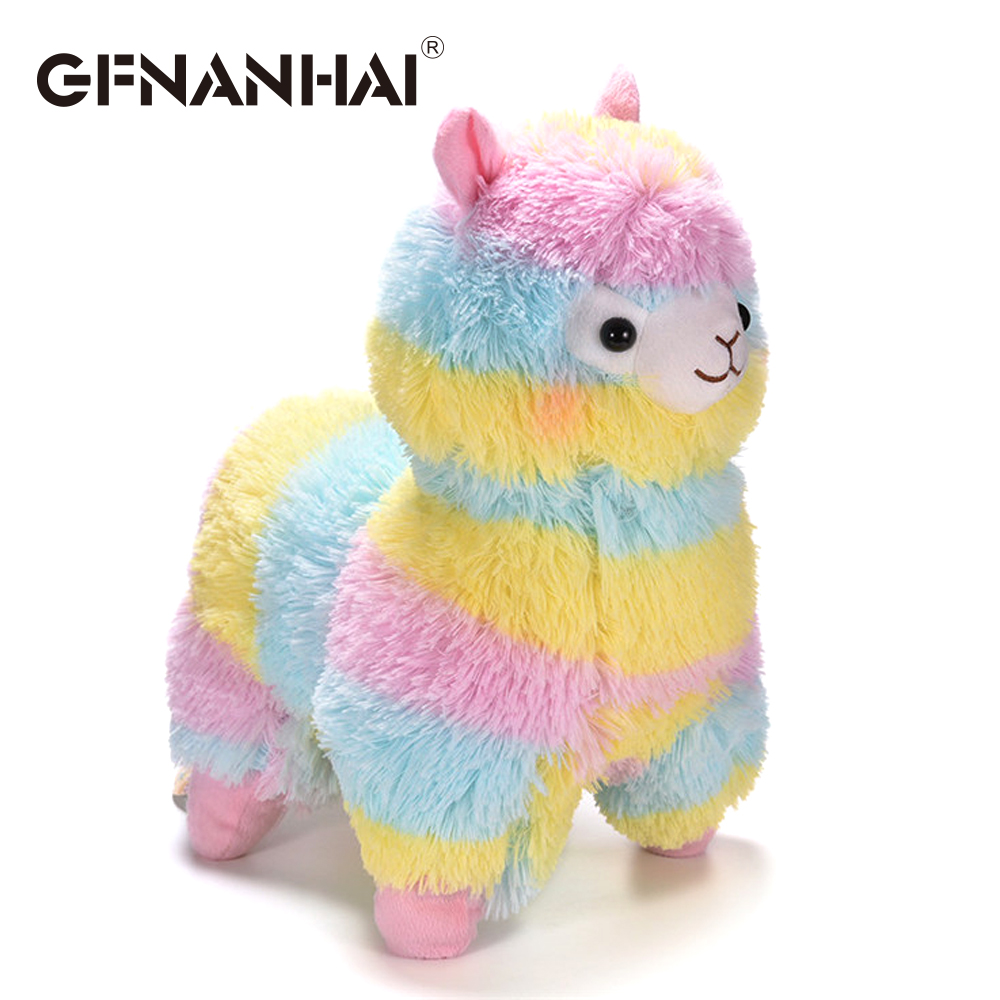 1pc 35cm fashion rainbow alpaca plush toy Japanese stuffed soft kawaii sheep dolls room decoration present for kids girls gift welcome customer apron sheep alpaca maid servant plush toy stuffed doll gift for baby kids children girlfriend baby present