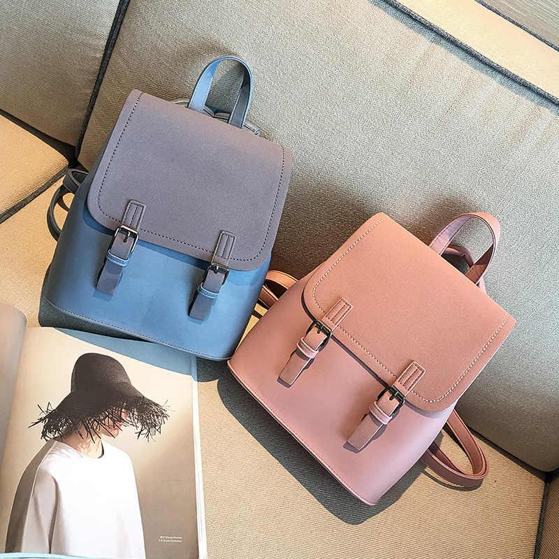 Корейский Колледж студенческий Рюкзак Pu кожаная отделка синего цвета хаки дорожные рюкзаки для девочек-подростков, Школьный Рюкзак Kawaii рюкзак