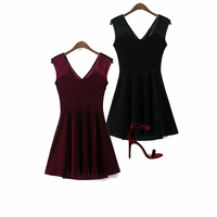 2017 Hot Sale Short Dresses Velvet Girls Women Velour Sexy Hollow Back A Line Dress Dark