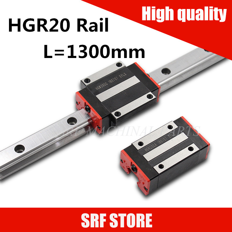 High quality 20mm width Linear guide rail 2pcs HGR20 L=1300mm with 4pcs  HGH20CA or HGW20CC slide block  carriageHigh quality 20mm width Linear guide rail 2pcs HGR20 L=1300mm with 4pcs  HGH20CA or HGW20CC slide block  carriage