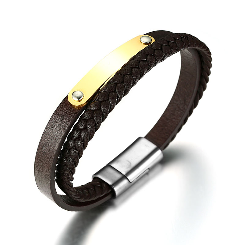Men Genuine Leather Bracelet Two-Strand Bangle in Brown Braided WristBand with Personalized Stainless Steel IDTag bileklik Gift ...