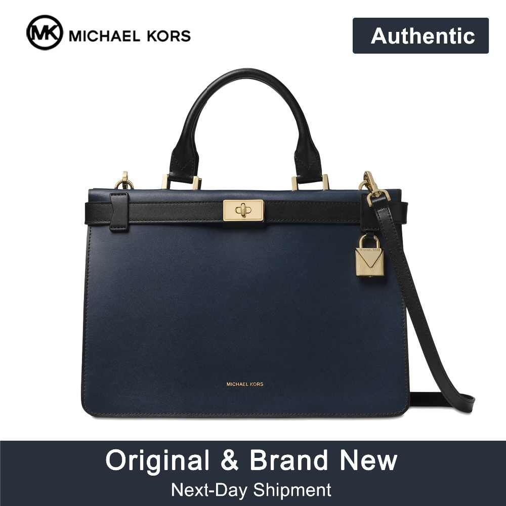 Michael Kors Tatiana Medium Leather Satchel Luxury Handbags For Women Bags  Designer by MK