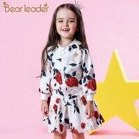 Bear Leader Girls Sets 2017 New Autumn Fashion Long Sleeve Floral Coats Rose Floral Skirts 2Pcs