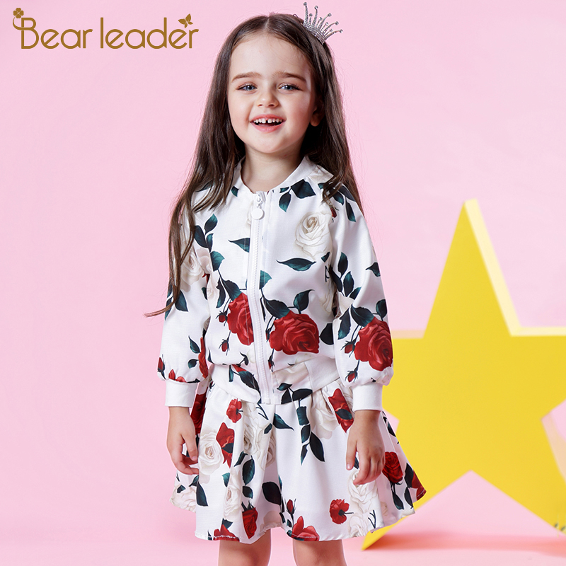 Bear Leader Girls Sets 2018 New Autumn Fashion Long Sleeve Floral Coats+Rose Floral Skirts 2Pcs Kids Clothing Sets For 3-8 Years garyduck girls clothing sets kids knitted suits long sleeve houndstooth tops skirts 2pcs for girls suits