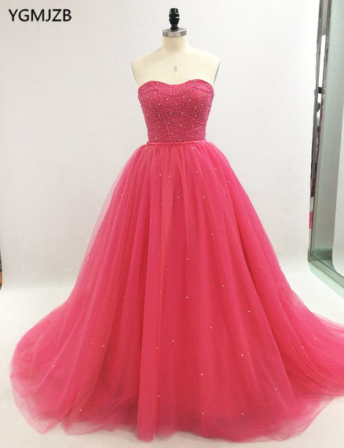 7c7f641f6e73 Pink Quinceanera Dresses Long 2018 Ball Gown Sweetheart Beaded Crystal  Puffy Prom Dress Sweet 16 Dresses Vestidos De 15 Anos
