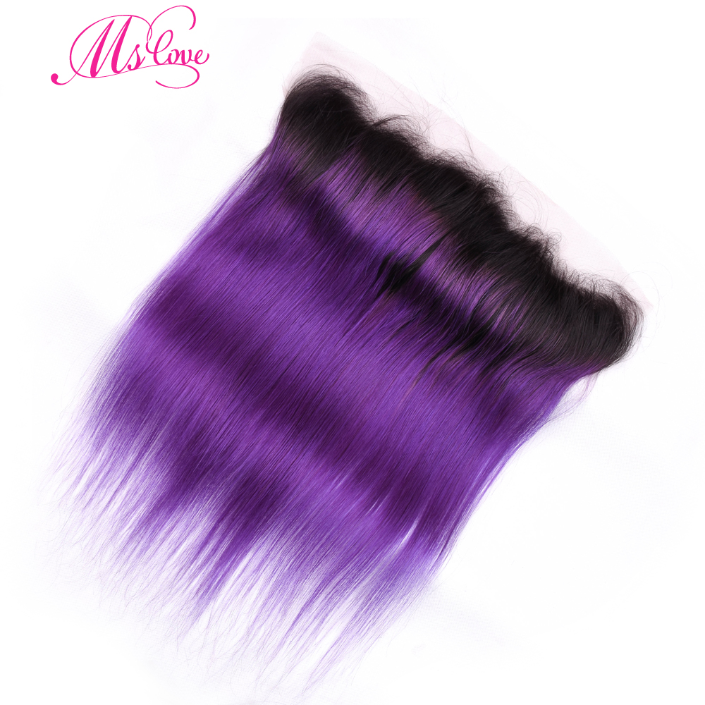 Ms Love Hair Ombre Straight Hait Tb/Purple Brazilian Hair Lace Frontal Closure 13*4 100% Remy Human Hair Free Shipping