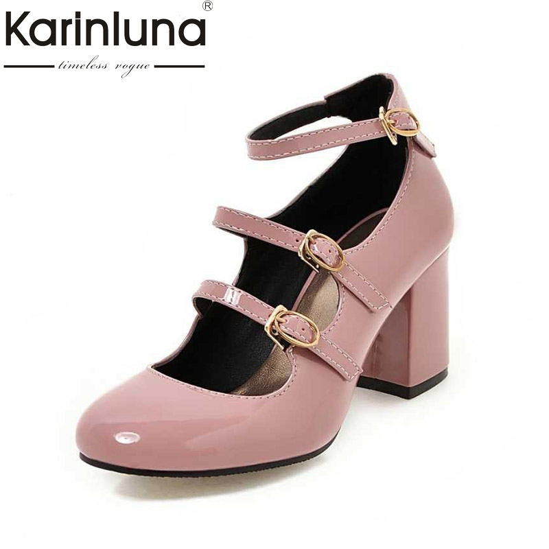 KarinLuna Gladiator Chunkh Heels Patent Upper Buckle Up Party Wedding Shoes Plus Size 34-43 Sexy Women Mary Jane Pumps plus size light up cosplay party skirt