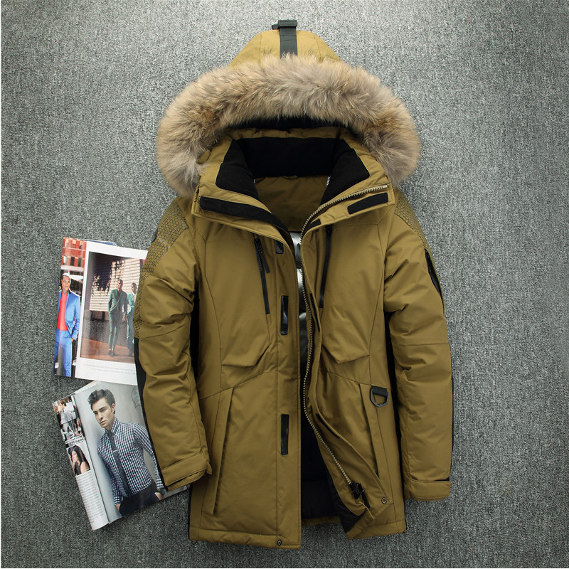 2018 winter new men's down jacket big fur collar thick warm jacket men's long outdoor white duck down jacket hooded coat 2015 new winter thick down jacket women black and white patchwork color plus size coat white duck down 90% down jacket ae396