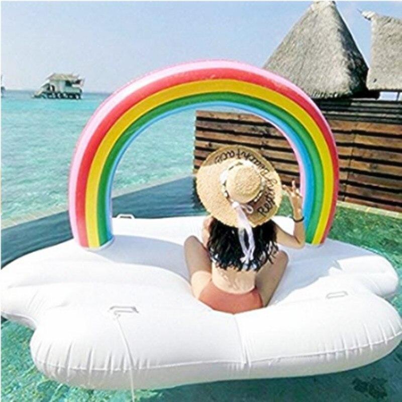 Arc-en-ciel gonflable piscine flottant rangée eau radeau jouet anneau de natation été eau fun piscine flotteur pour lac partie bord de mer plage