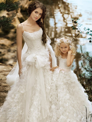 2 Pieces 259usd Ruffled Long White Wedding Dress And Flower Fashion Family Mother Daughter Matching In Dresses From Weddings