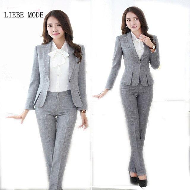 3f2d27fc71 Más el tamaño de las mujeres trajes de pantalón de trabajo Formal  pantalones trajes de mujer ...