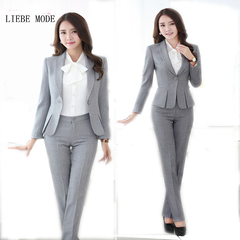 Womens Formal Work Suit Pants Black Grey Ladies Career Dress Suit Set Blazers and Pants Plus Size Uniform Pantsuits S-3XL 4XL