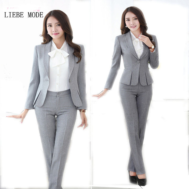 ac58a0d17a69 Trajes de pantalón de talla grande negro gris rojo Formal pantalones trajes  de trabajo para mujer
