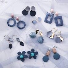 Женские акриловые сережки-подвески AOMU, летние синие серьги нестандартной формы с вырезами, пляжные ювелирные украшения в корейском стиле, круглые и квадратные сережки