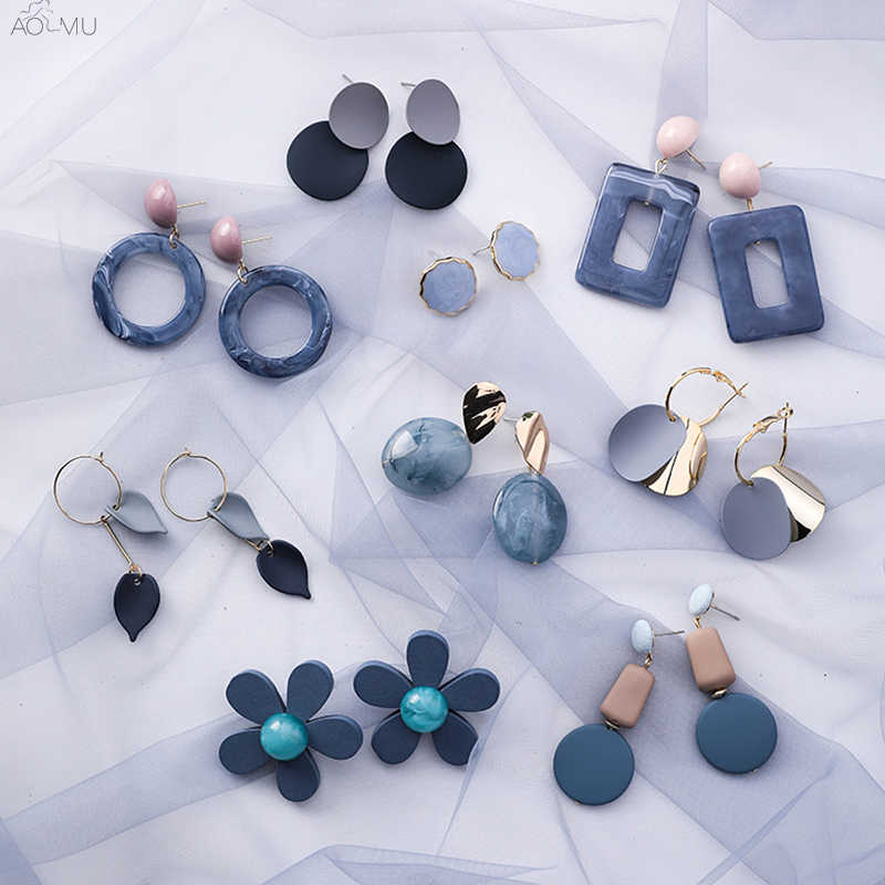 AOMU Korean Summer Blue Geometric Acrylic Irregular Hollow Circle Square Drop Earrings for Women Metal Bump Party Beach Jewelry