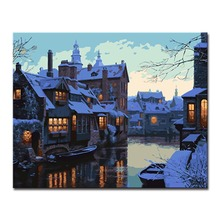 Frameless DIY Digit Oil Painting By Numbers Drawing Kits Coloring Winter Cottage Building Pictures On Linen Canvas Wall Artwork
