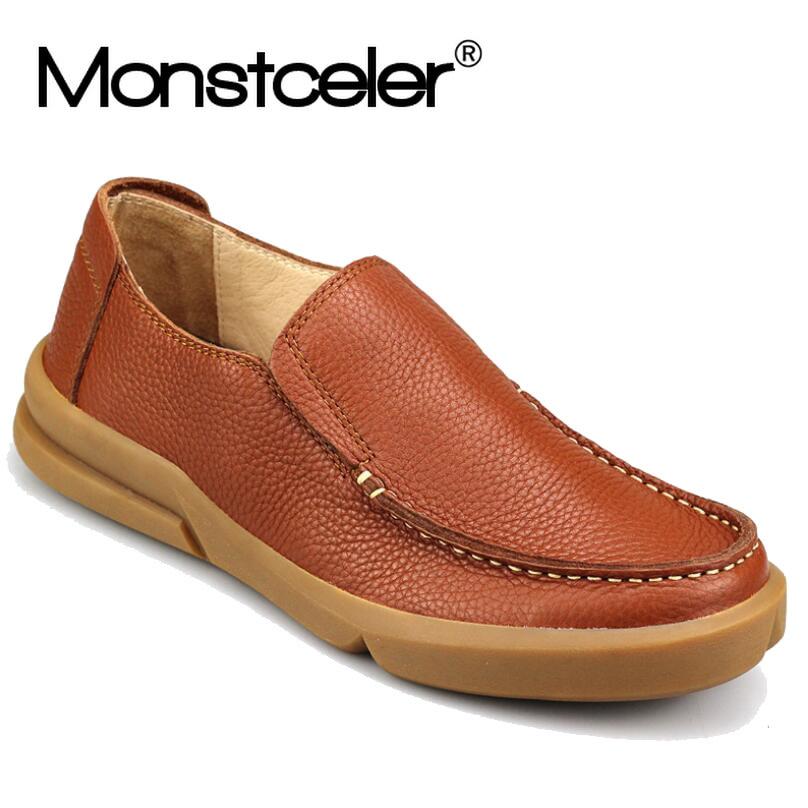 Natural Leather Men s Slip on Shoes Breathable Lazy Brand Casual Shoes British Handmade Designer Men