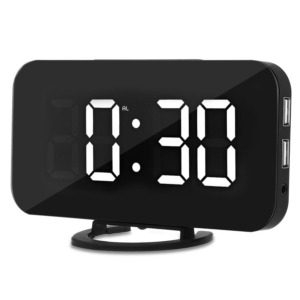 Creative LED Digital Reloj de mesa ajustable de brillo de la Oficina para el hogar Hotel Sensor de luz USB moderno reloj Digital