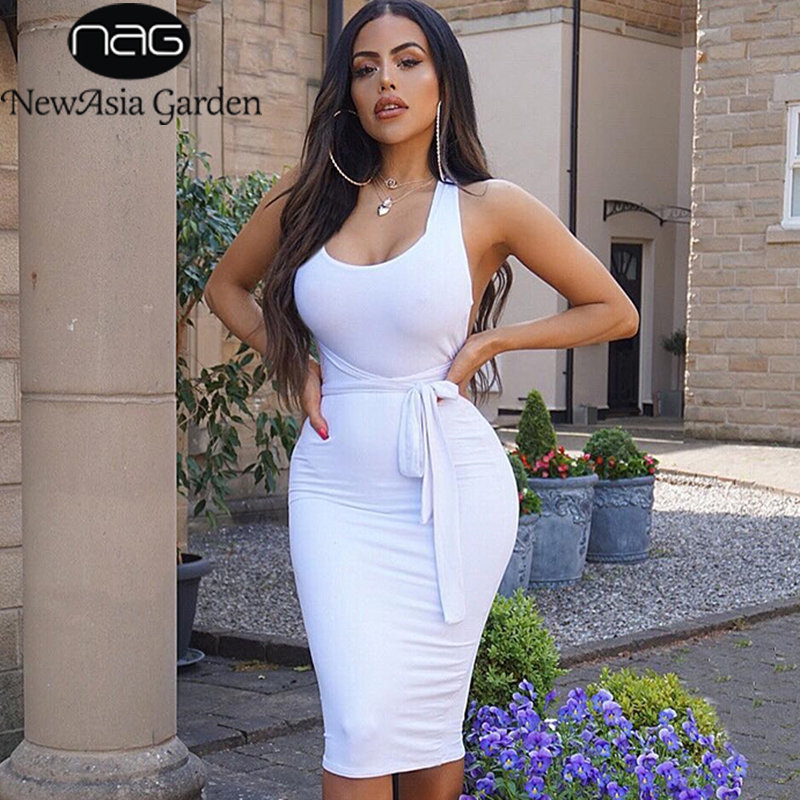 NewAsia 2 couches dames moulante robe femmes élégant Midi Sexy robe blanc dos nu Bandage robe automne robes de soirée robes