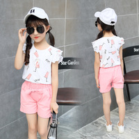 Summer Girl Two Pieces Suit Skirt Pearl Summer Wear Short Hubble-bubble Sleeve Kids Clothing Sets