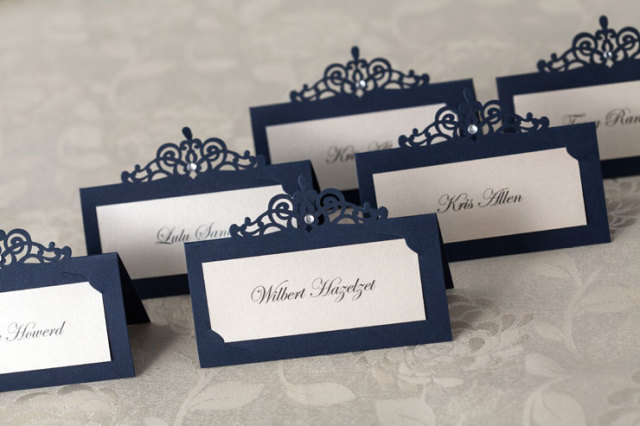 Royal Blue Wedding Marriage Engagement Party Decoration Place Card With Rhinestone Guest Name Cards Holder