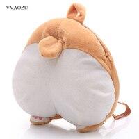 Funny Puppy Chibi Corgi Butt Soft Backpack Cute Pet Dog Plush Buttock Daypack Stuffed Toy Shoulder