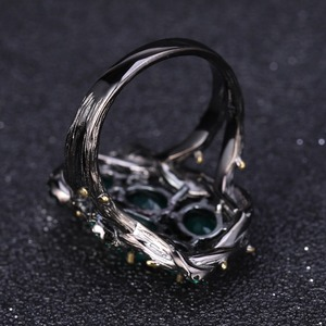 Image 3 - Женское кольцо с полым элементом gembs, натуральный зеленый агат из серебра 925 пробы, ювелирное изделие ручного изготовления, натуральный камень